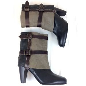 Matisse fold over leather Brooklyn heeled booties